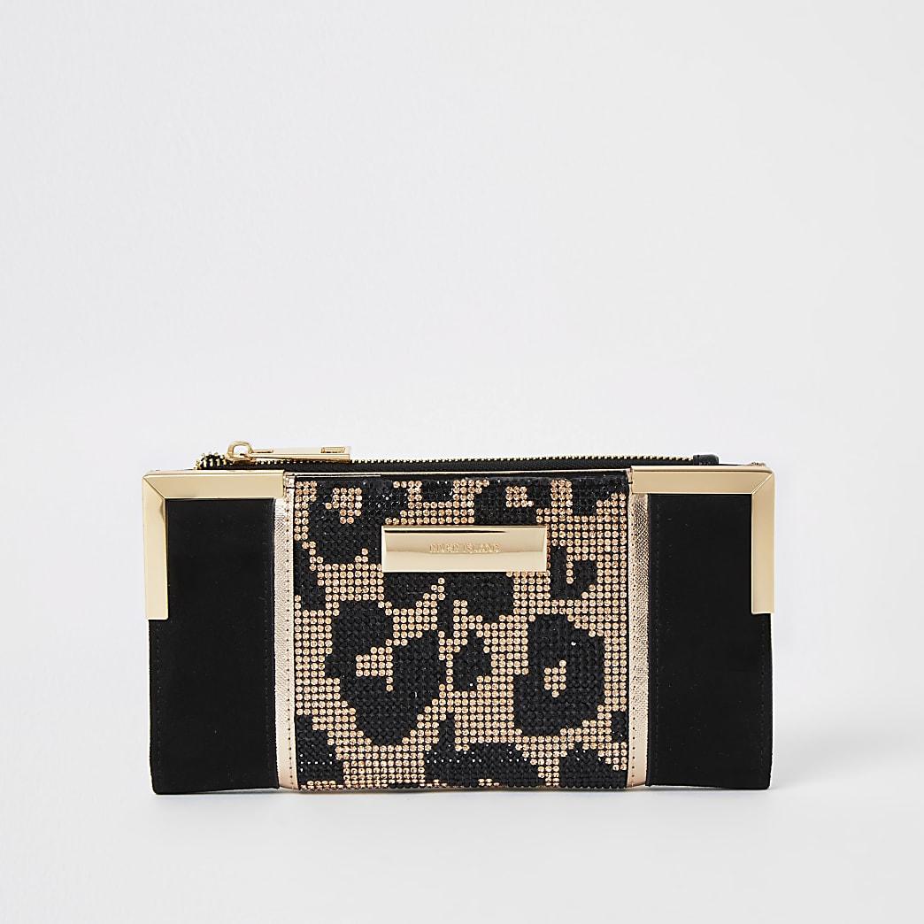Black leopard blocked fold out purse
