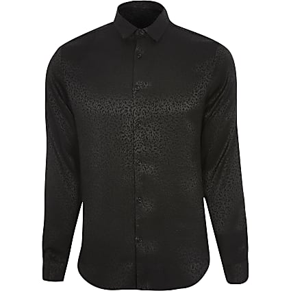 Black leopard design slim fit shirt