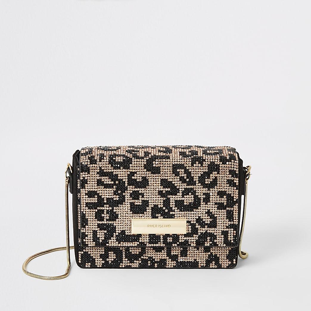 Black leopard diamante mini cross body bag