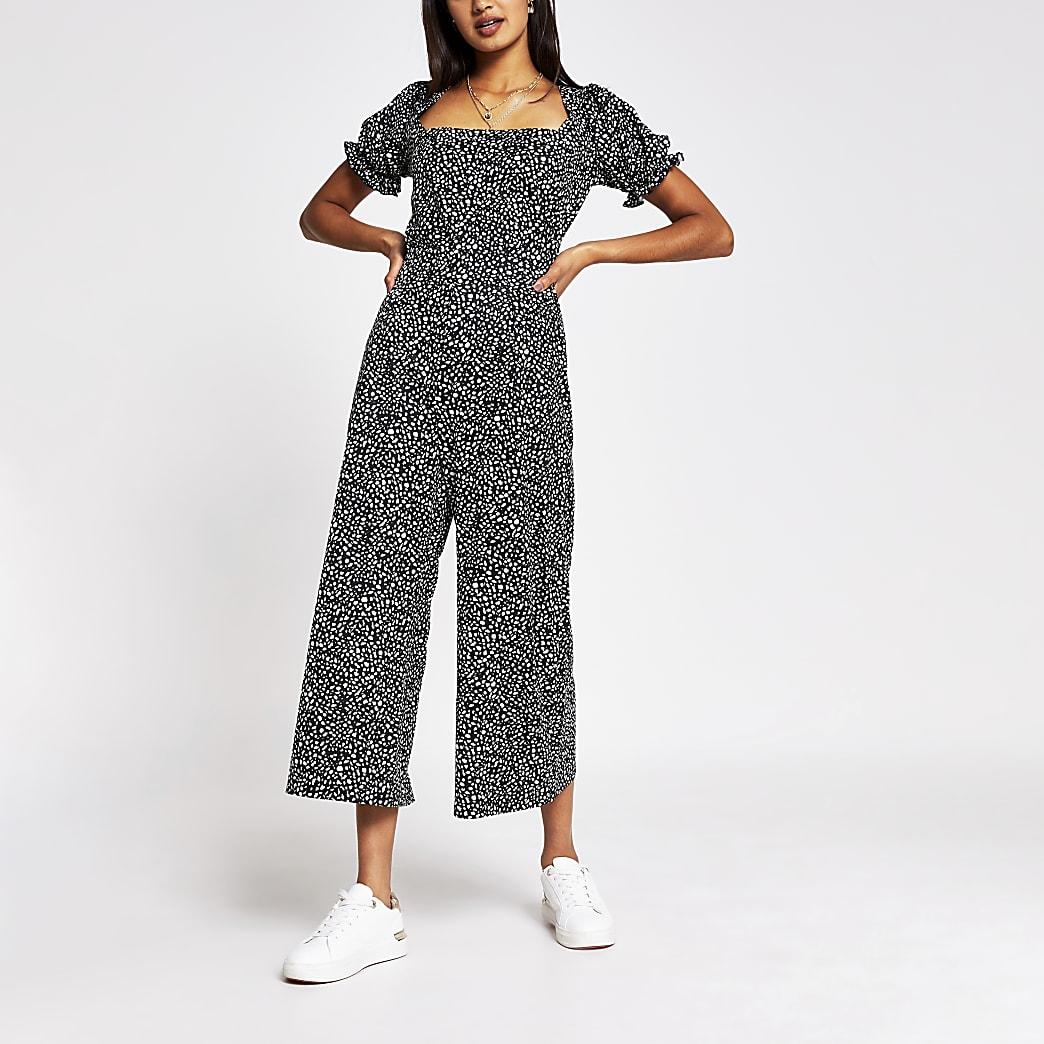 Black leopard print culotte