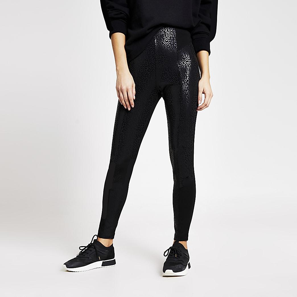 Schwarze Leggings mit hohem Bund und Leoparden-Print
