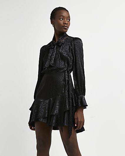 Black leopard print jacquard mini dress
