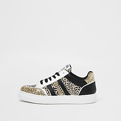Black leopard print panelled trainers