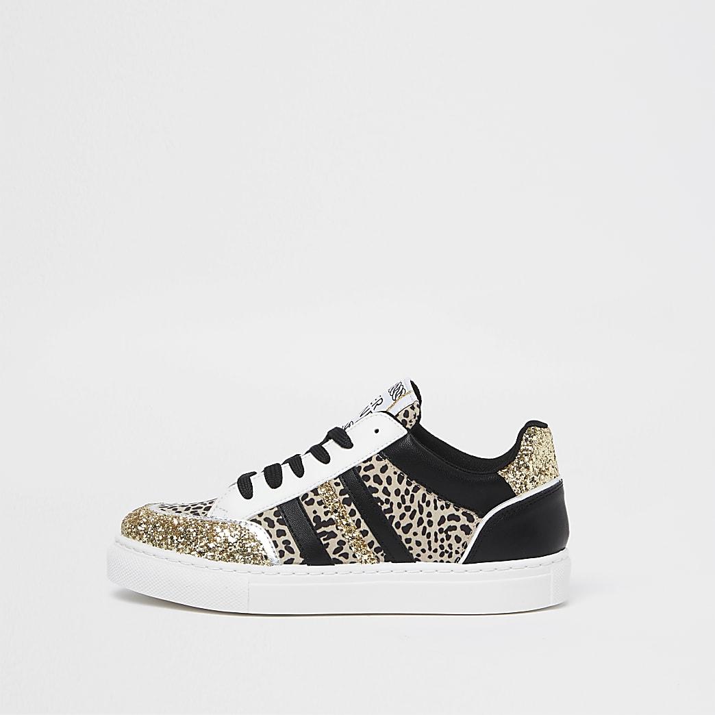 Black leopard print panelled trainers