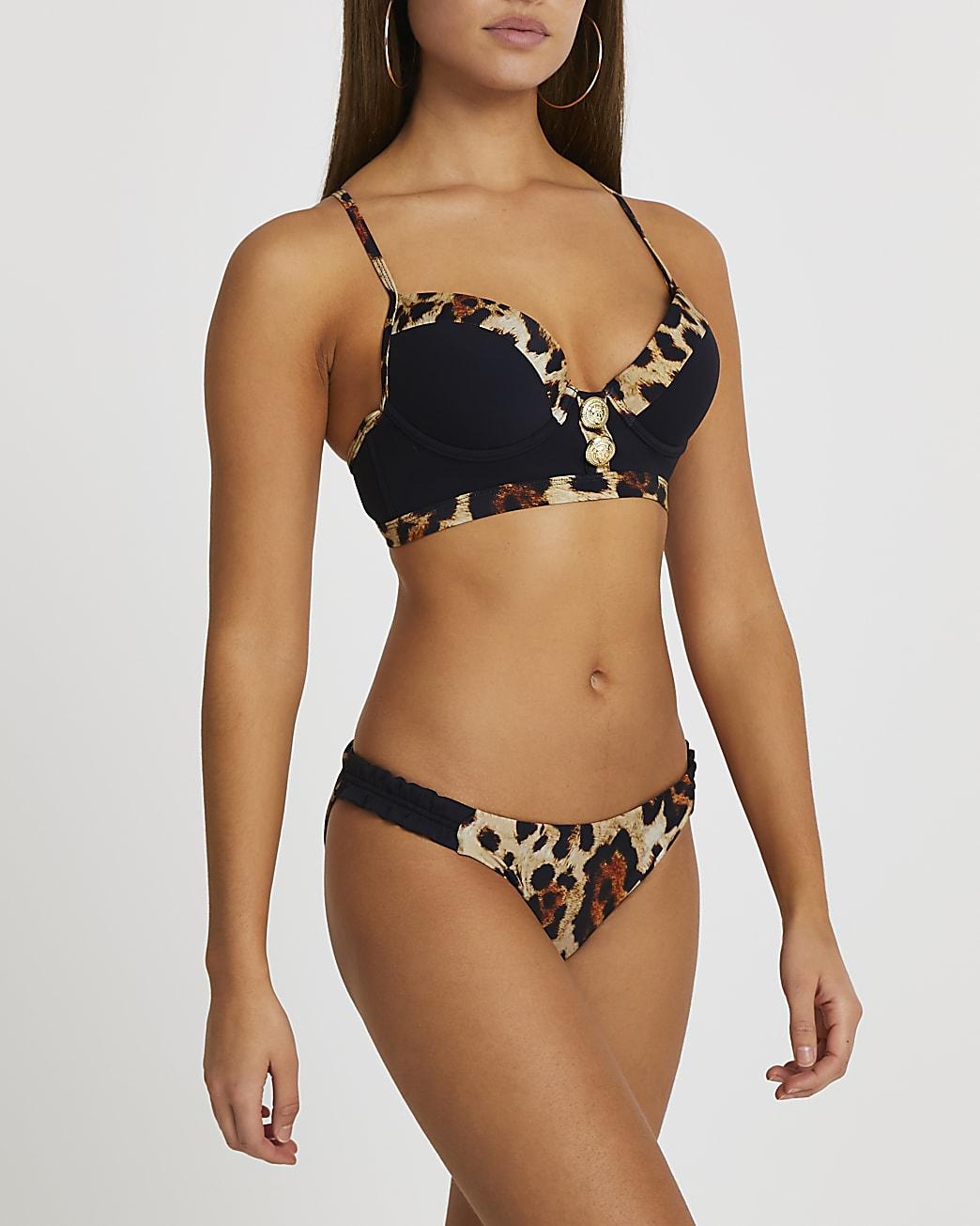 Black leopard print plunge bikini top
