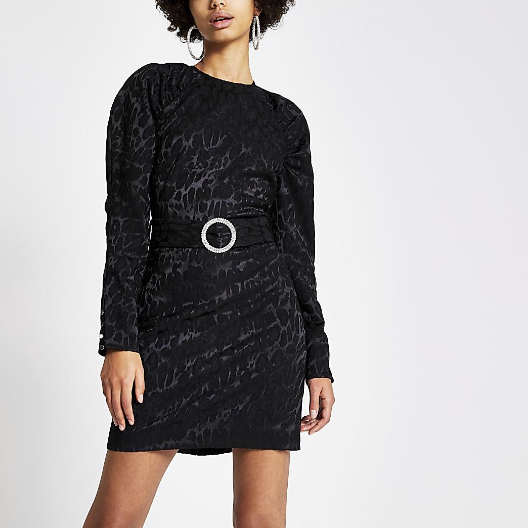 Black leopard print puff sleeve mini dress