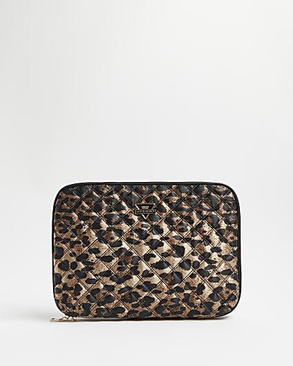 Black leopard print quilted laptop case