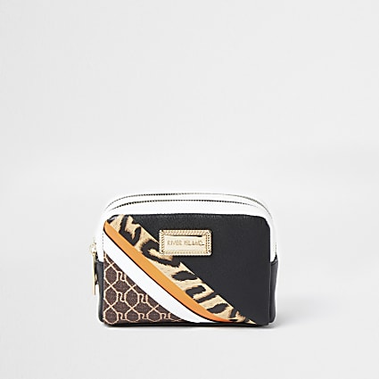 Black leopard print RI make-up bag