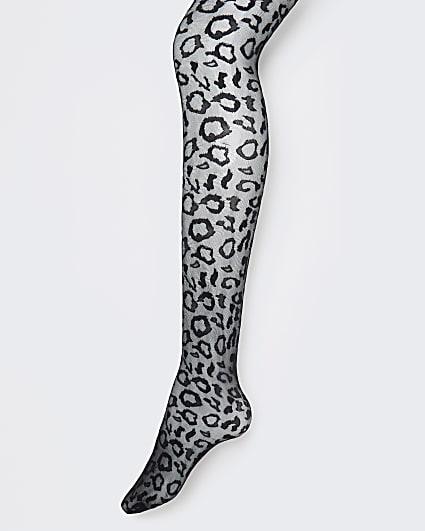 Black leopard print tights