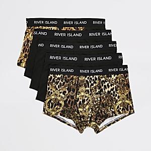 Lot de5 boxers RI noirs imprimé léopard