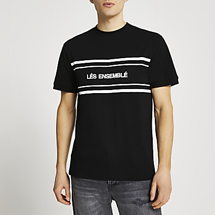 Black 'Lés Ensemblé' slim fit t-shirt