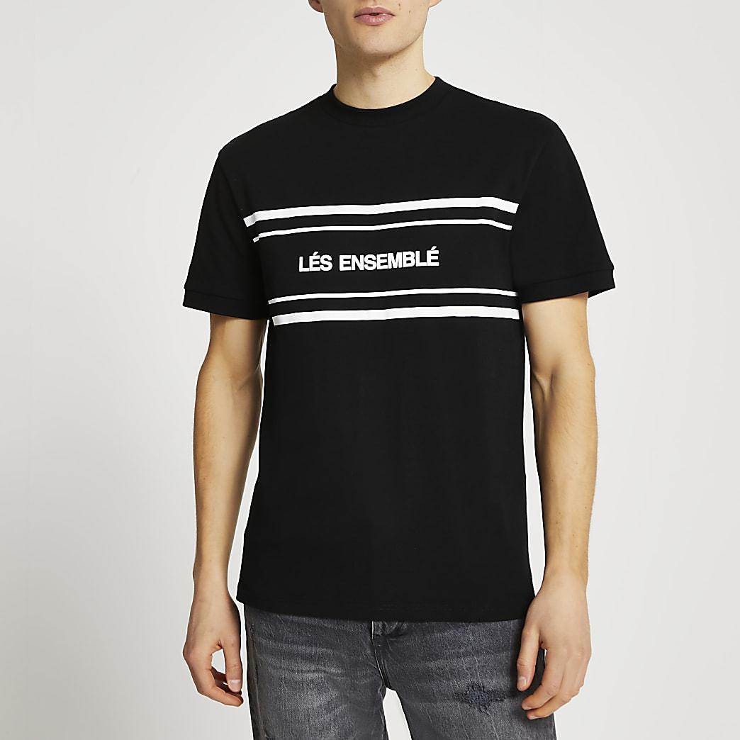 Black 'Lés Ensemblé' slim fit t-shirt
