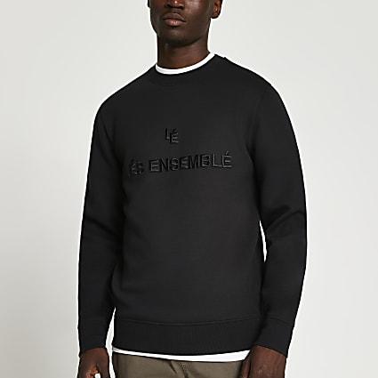 Black 'Lés Ensemblé' sweatshirt