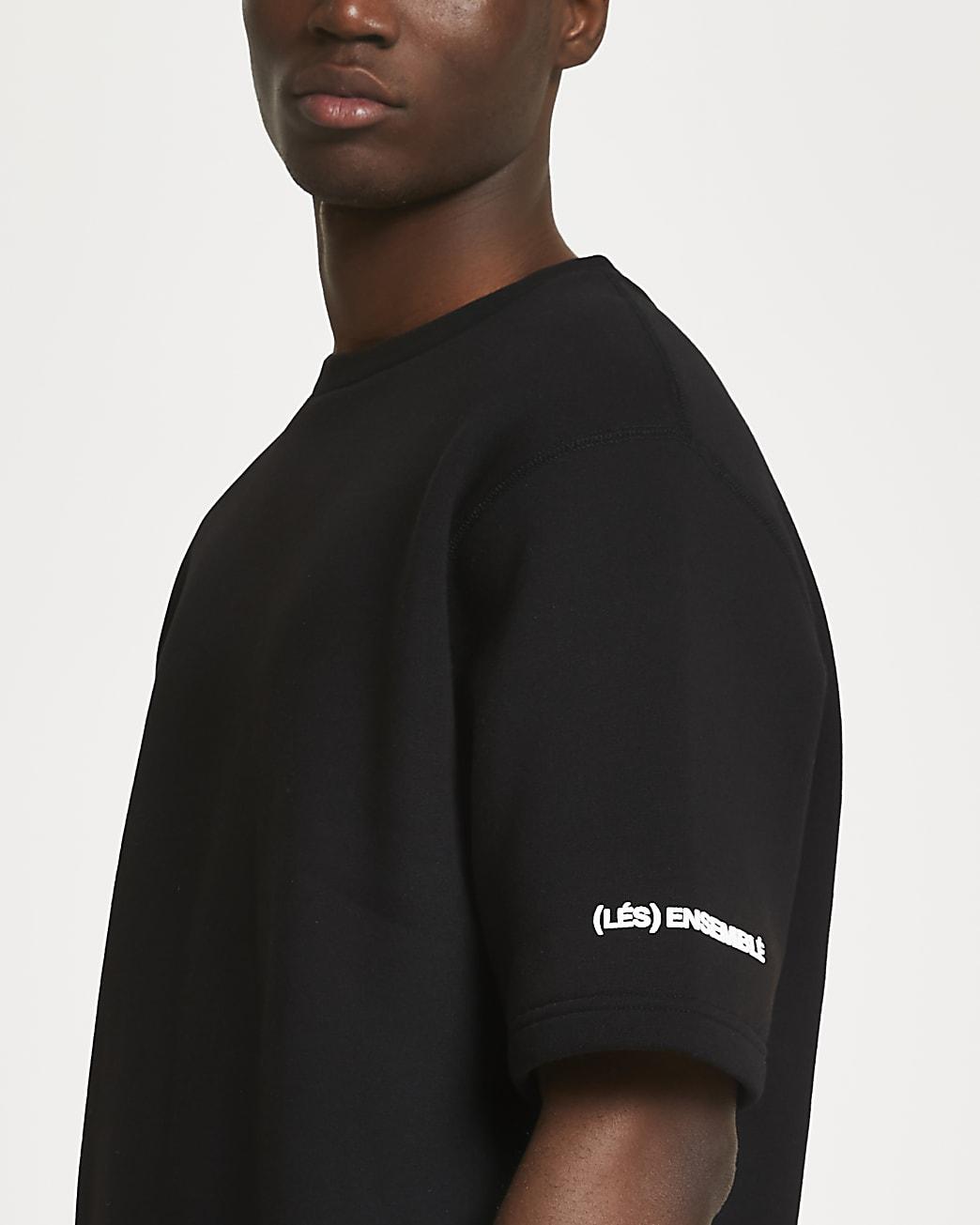 Black 'Les Ensembles' short sleeve sweatshirt