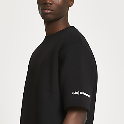 Black 'Les Ensembles' short sleeve sweatshirt