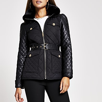 Black lightweight quilted padded jacket
