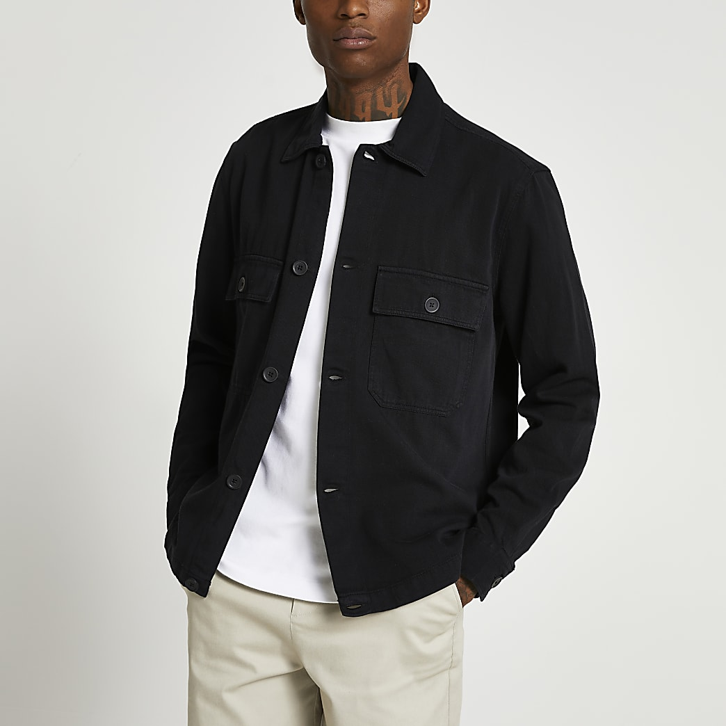 Black linen button shacket