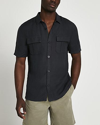 Black linen utility short sleeve shirt