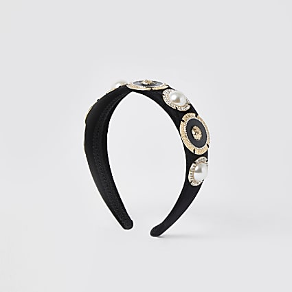 Black lion head gold design headband