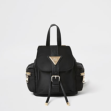 Black lock front backpack