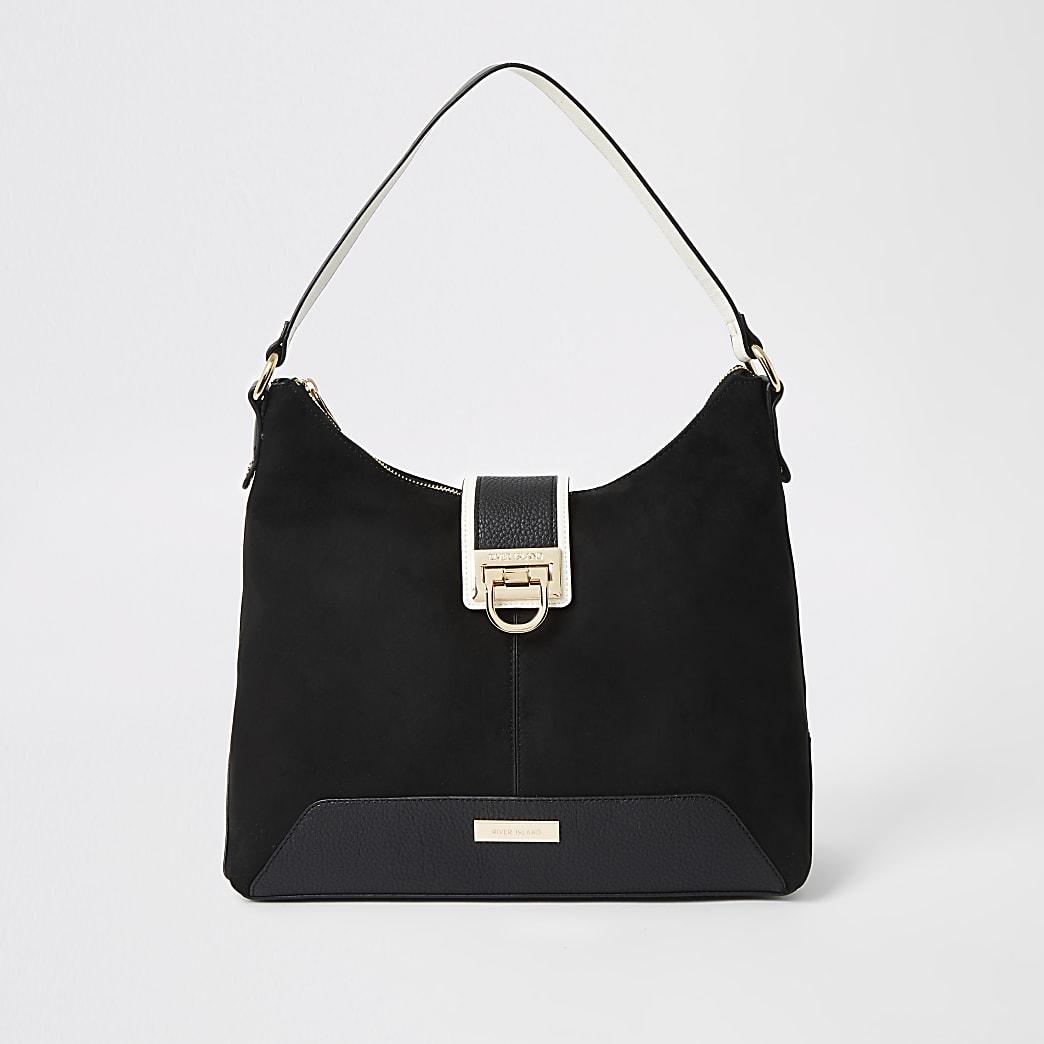 Black lock front slouch bag