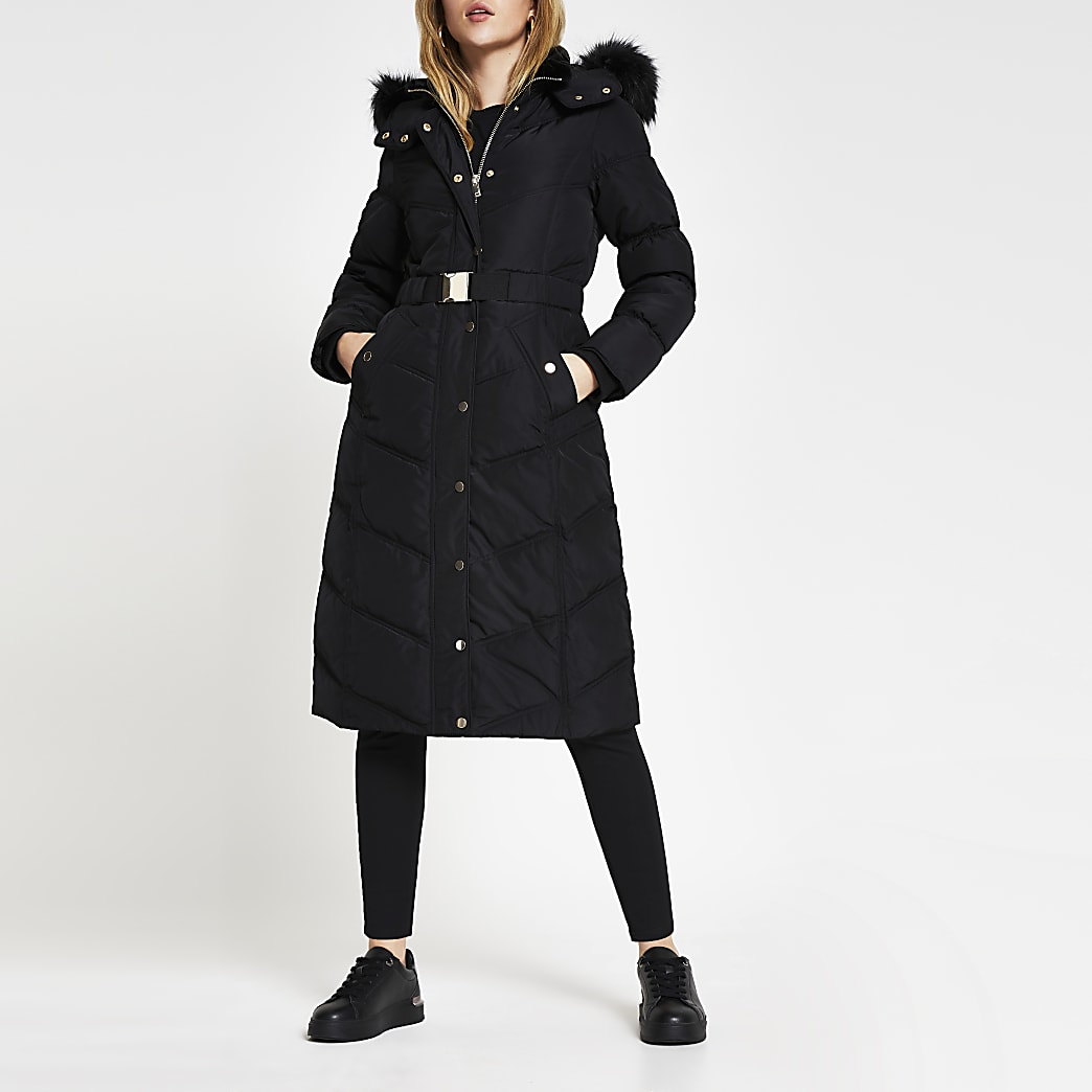 Black long line belted puffer coat
