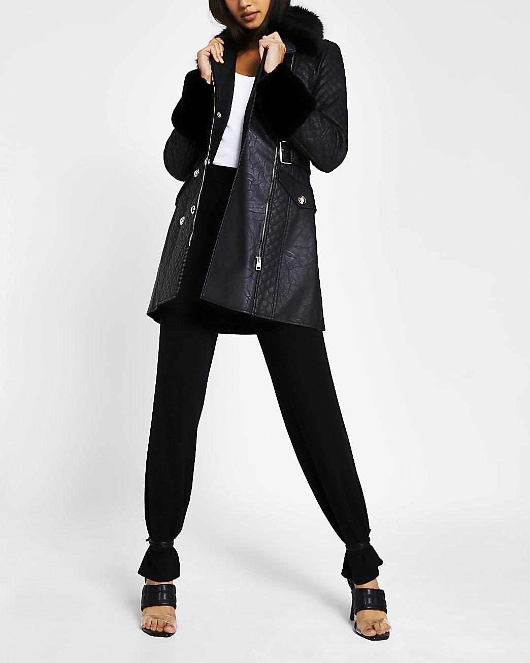 Black long line faux fur belted jacket
