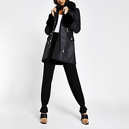 Black long line faux fur belted jacket