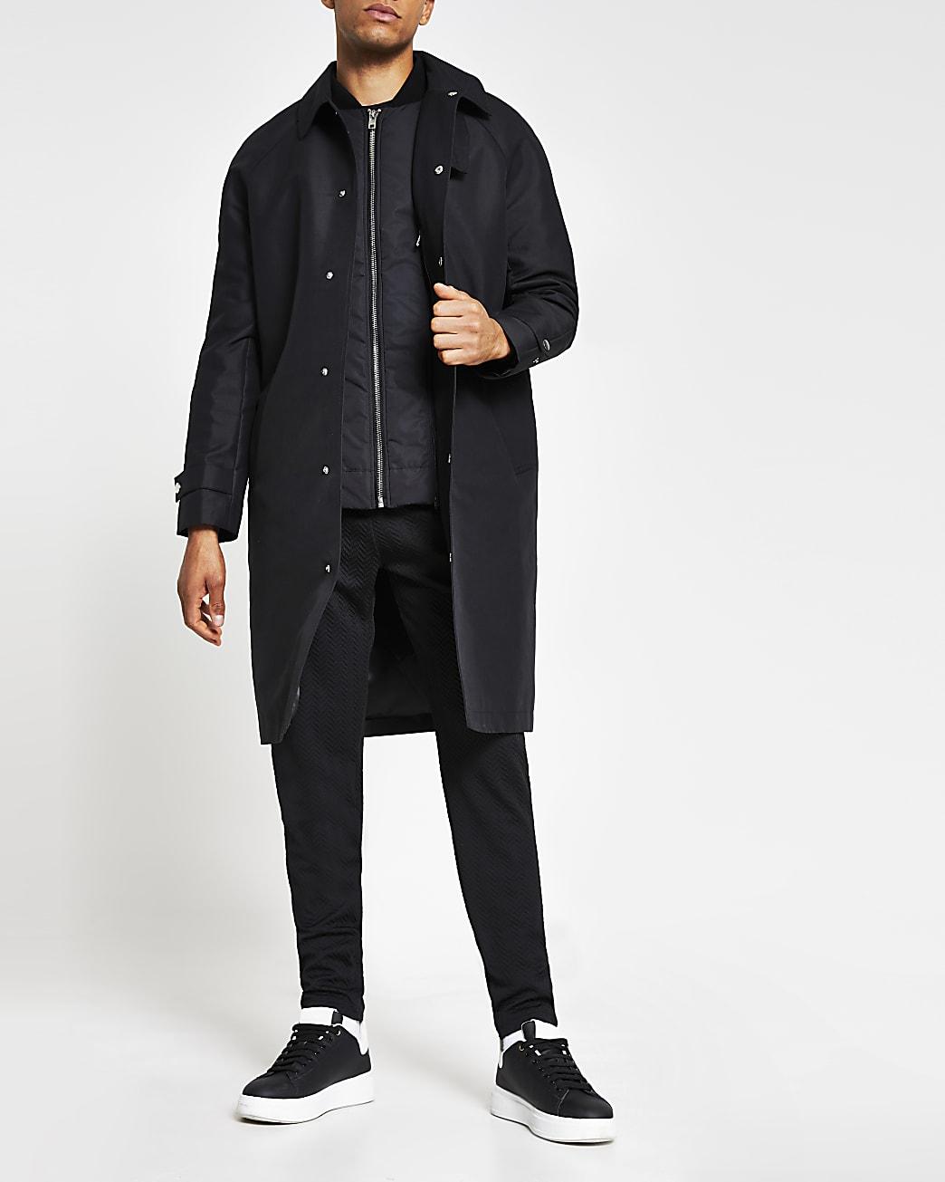 Black long line rain mac jacket