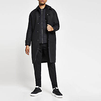 Black long line rain mac