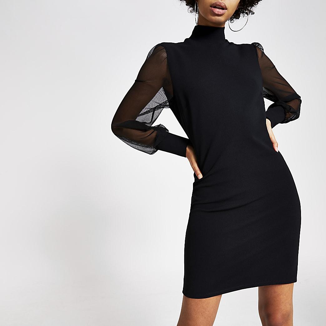 Schwarzes Minikleid mit langen Mesh-Ärmeln und Stehkragen