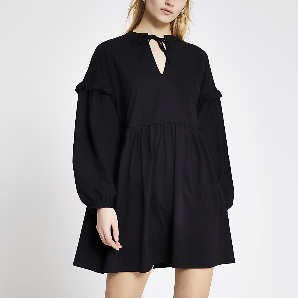 Black long poplin sleeve mini dress