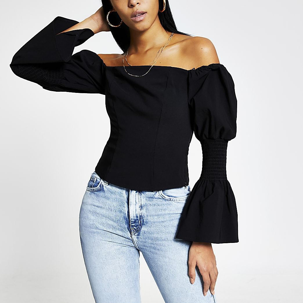 Black long puff sleeve bardot top
