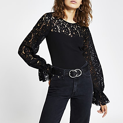 Black long puff sleeve blocked lace top