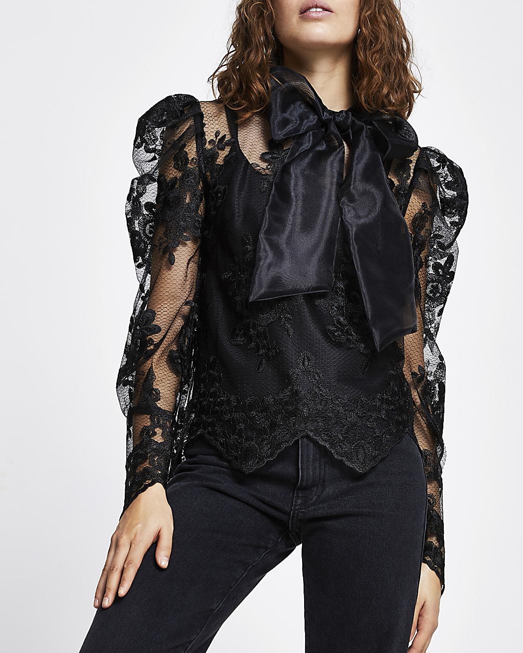Black long puff sleeve organza lace top