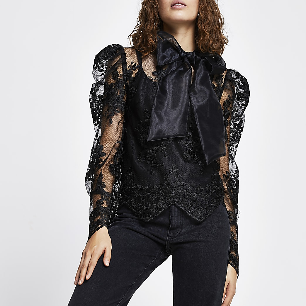 Black long puff sleeve organza lace top