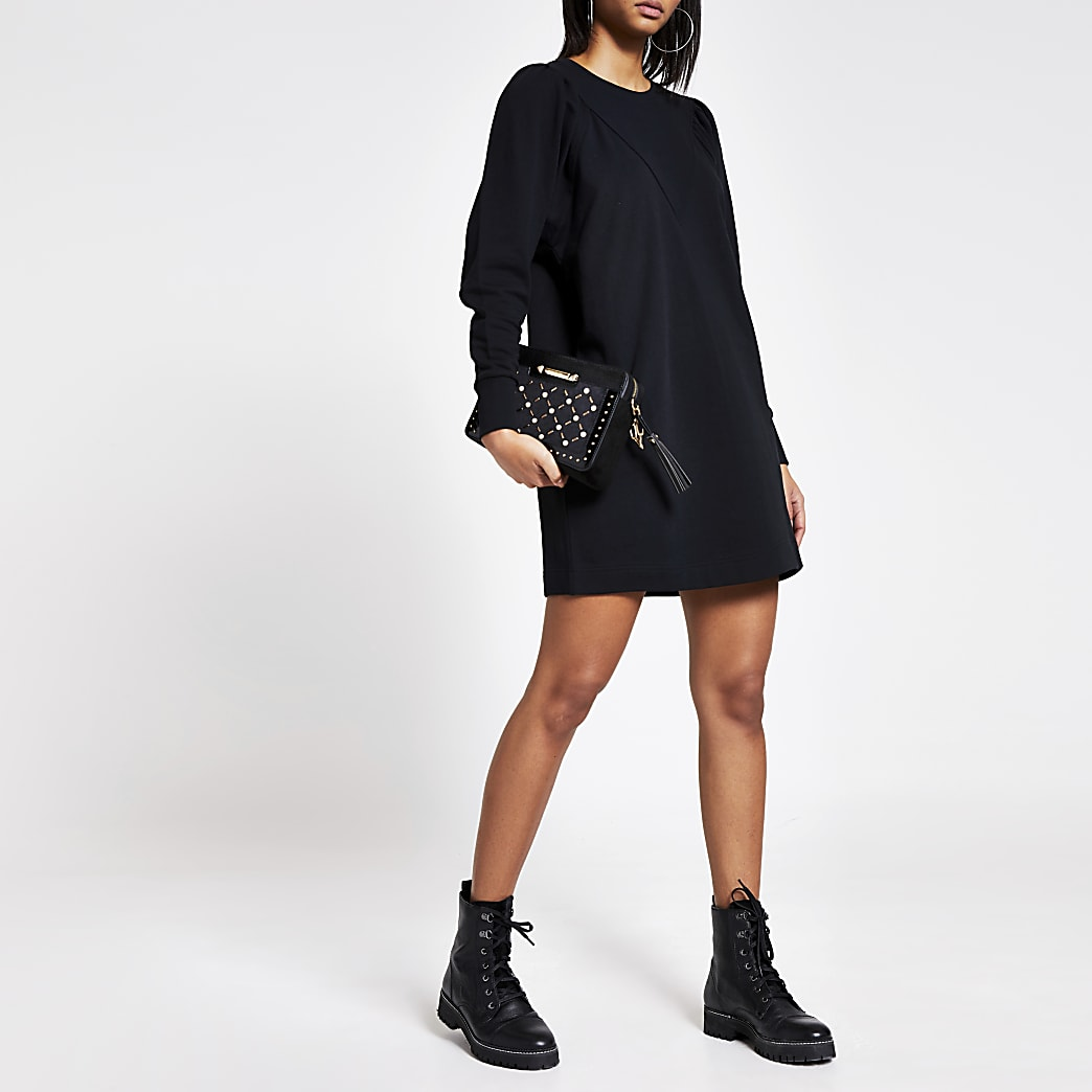 Black long puff sleeve sweatshirt mini dress