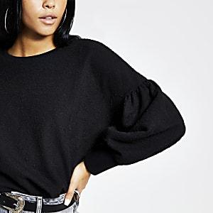 Black long puff sleeve top