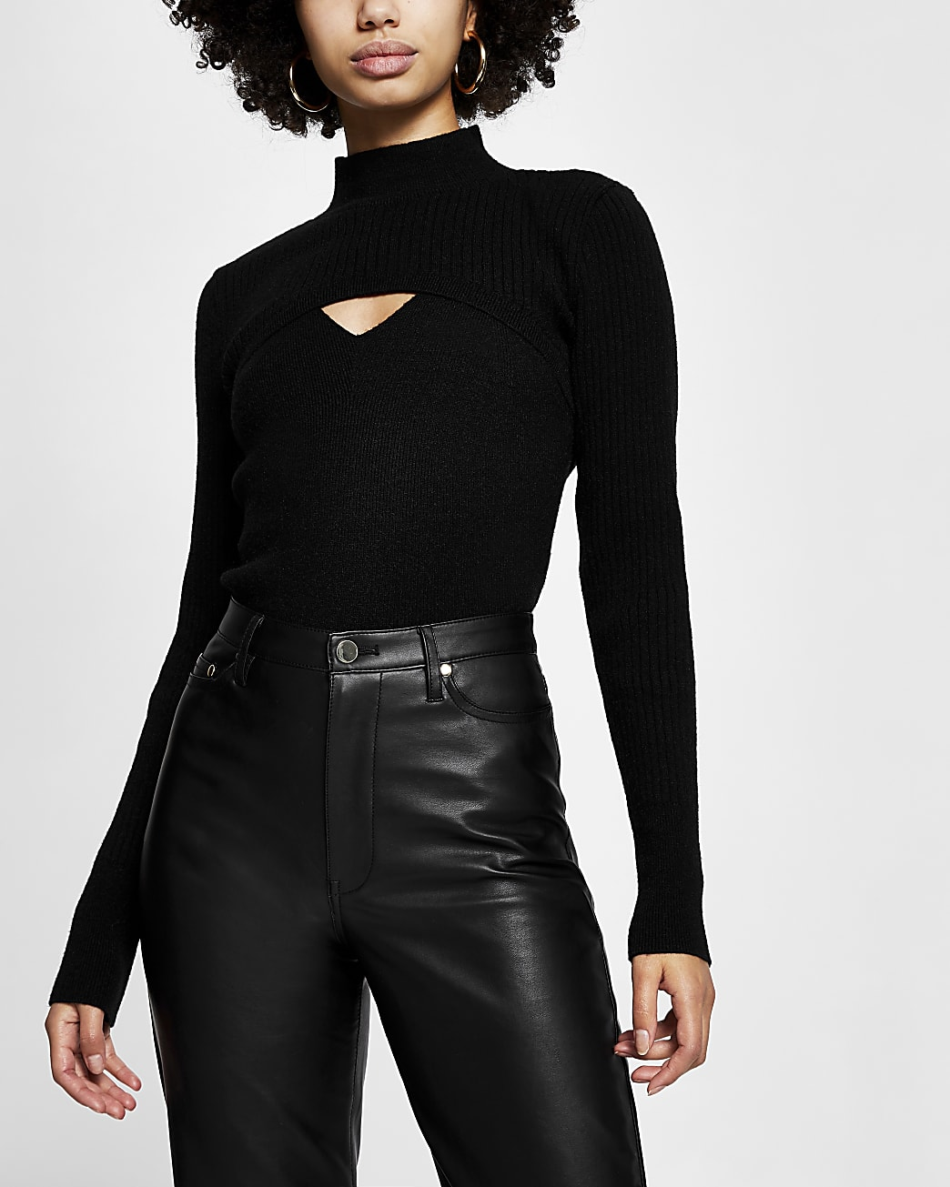 Black long sleeve 2 in 1 fitted knit set