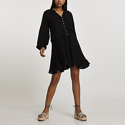 Black long sleeve 2 in 1 mini dress