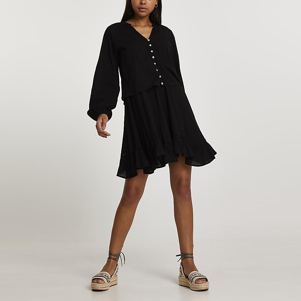 Black long sleeve 2 in 1 mini dress