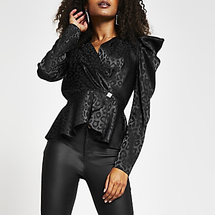 Black long sleeve animal jacquard wrap top