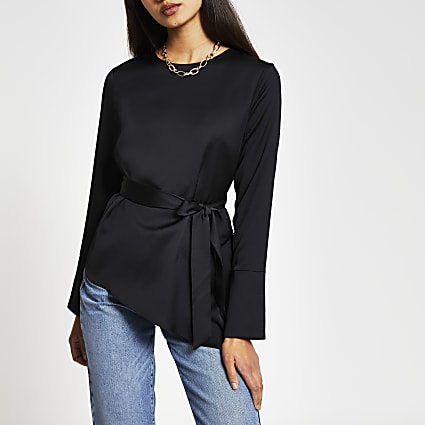 Black long sleeve asymmetric hem top