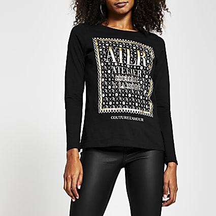 Black long sleeve 'ATLR' monogram print top
