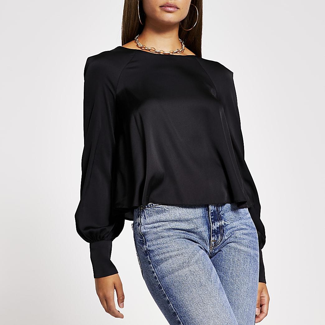 Black long sleeve balloon sleeve blouse