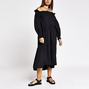 Schwarzes, langärmeliges Bardot-Kleid mit Puffärmeln