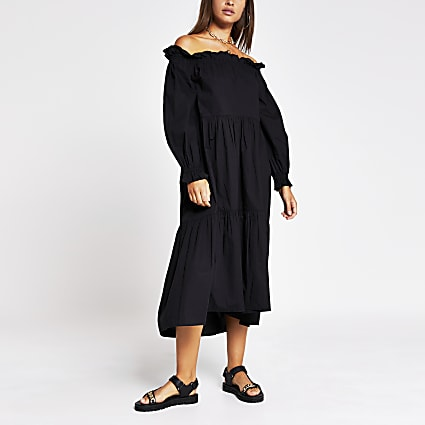 Black long sleeve bardot puff sleeve dress