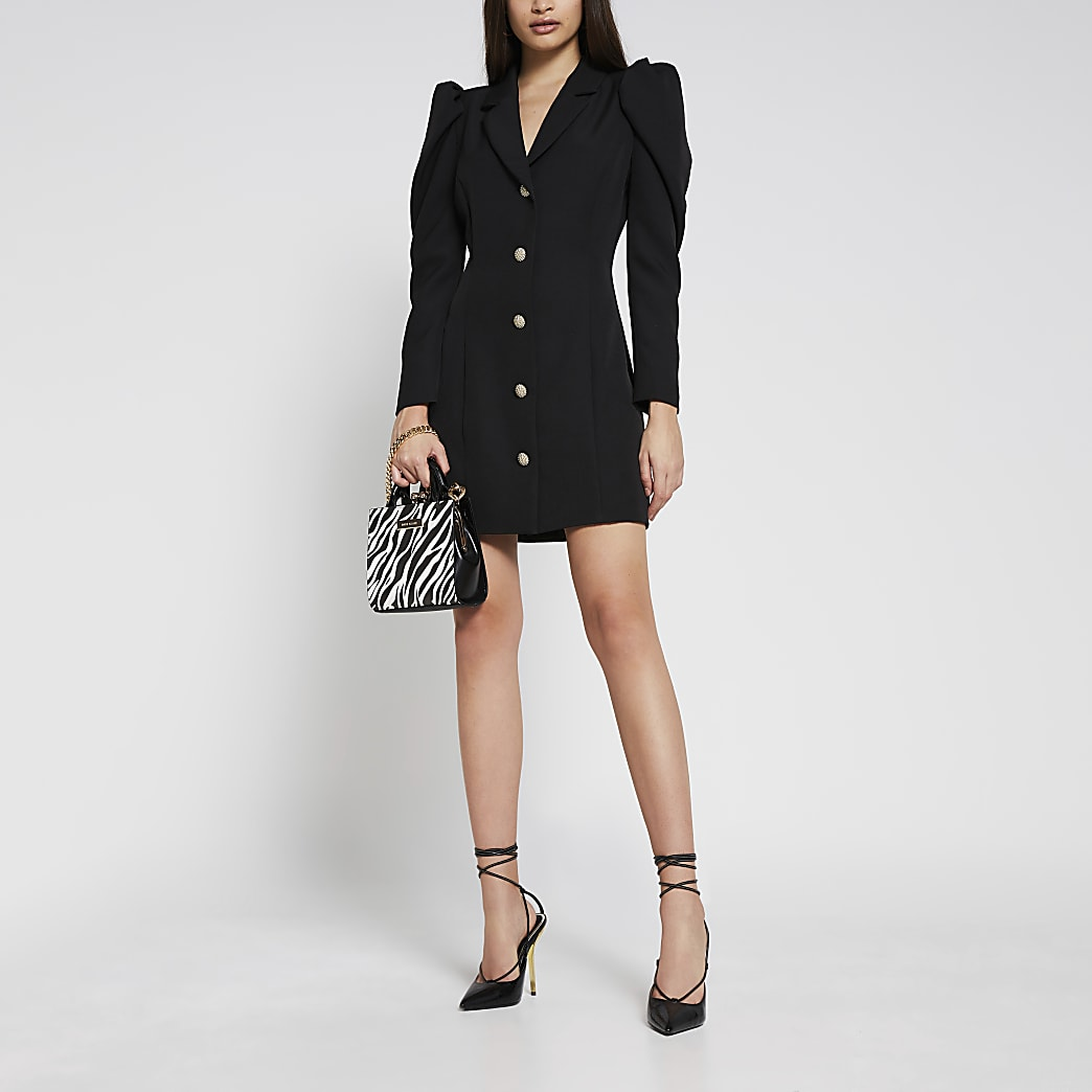Black long sleeve blazer dress
