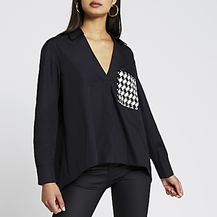 Black long sleeve boucle pocket shirt