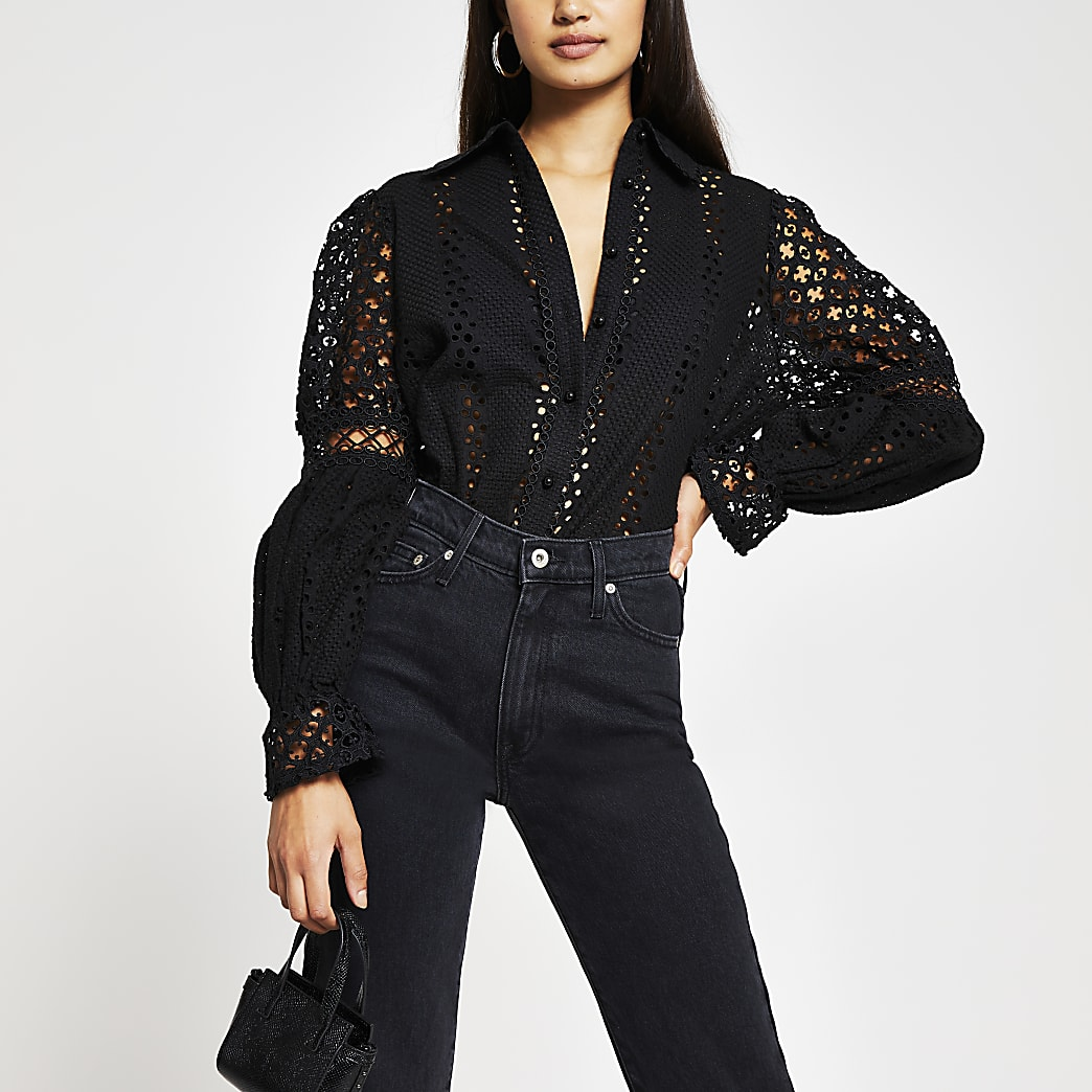 Black long sleeve broderie shirt